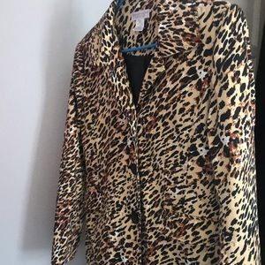 Women's Small Leopard print fitted long jacket